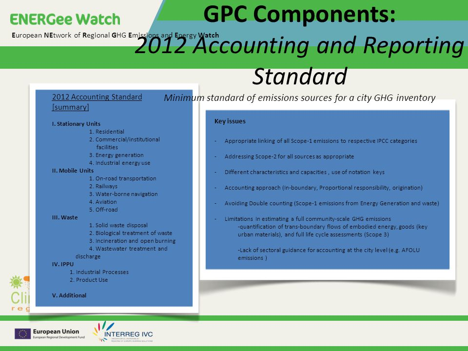 European NEtwork of Regional GHG Emissions and Energy Watch GPC Components: 2012 Accounting and Reporting Standard Minimum standard of emissions sources for a city GHG inventory 2012 Accounting Standard [summary] I.