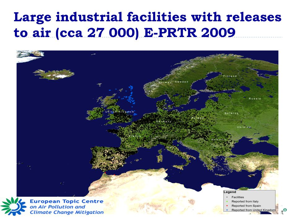 Large industrial facilities with releases to air (cca ) E-PRTR 2009
