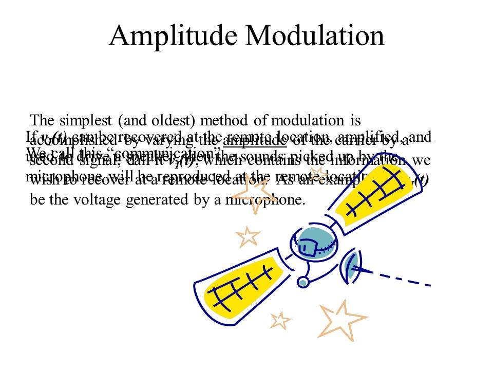 Amplitude Modulation The simplest (and oldest) method of modulation is accomplished by varying the amplitude of the carrier by a second signal, call it v I (t), which contains the information we wish to recover at a remote location.