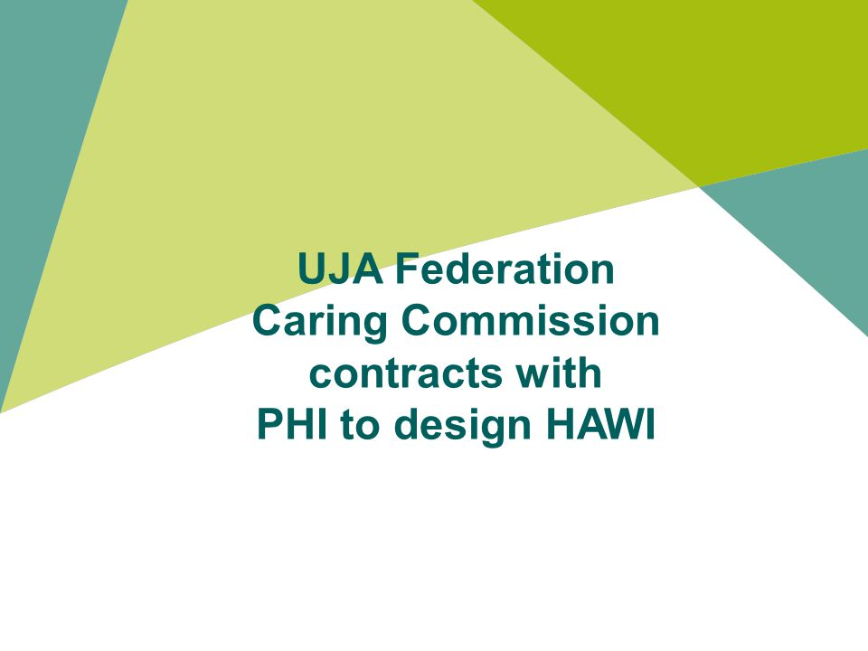 UJA Federation Caring Commission contracts with PHI to design HAWI