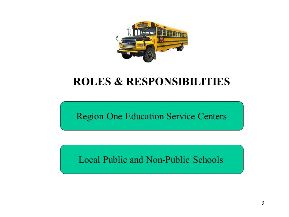 3 ROLES & RESPONSIBILITIES Region One Education Service Centers Local Public and Non-Public Schools