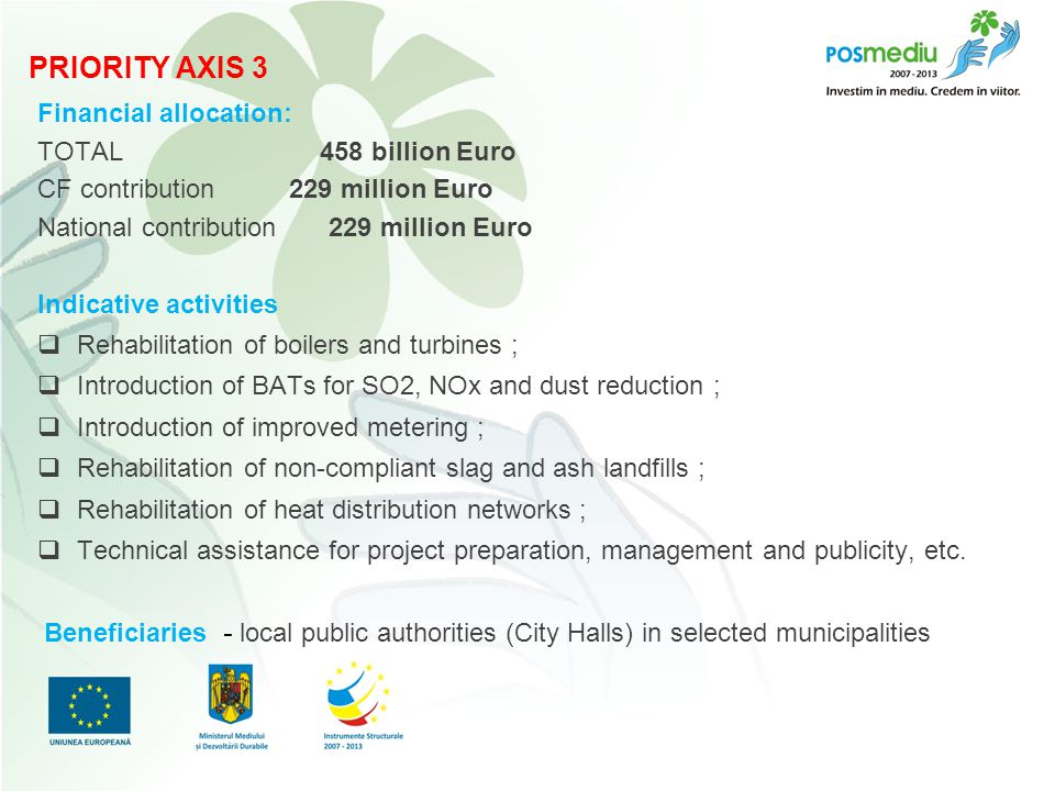 Titlul proiectului subtitlu Financial allocation: TOTAL 458 billion Euro CF contribution 229 million Euro National contribution 229 million Euro Indicative activities  Rehabilitation of boilers and turbines ;  Introduction of BATs for SO2, NOx and dust reduction ;  Introduction of improved metering ;  Rehabilitation of non-compliant slag and ash landfills ;  Rehabilitation of heat distribution networks ;  Technical assistance for project preparation, management and publicity, etc.