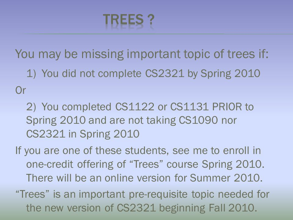 You may be missing important topic of trees if  1) You did not complete 9a5824538