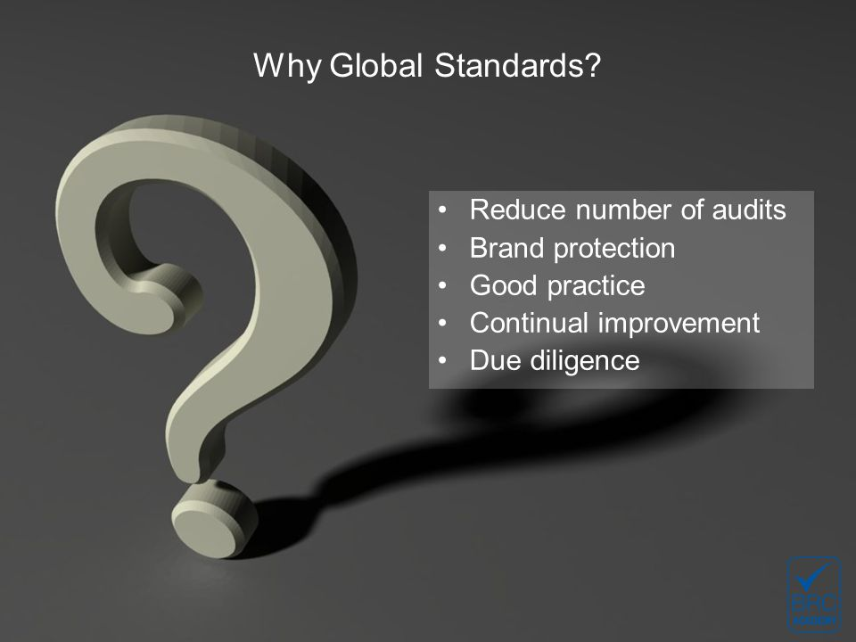 Why Global Standards.