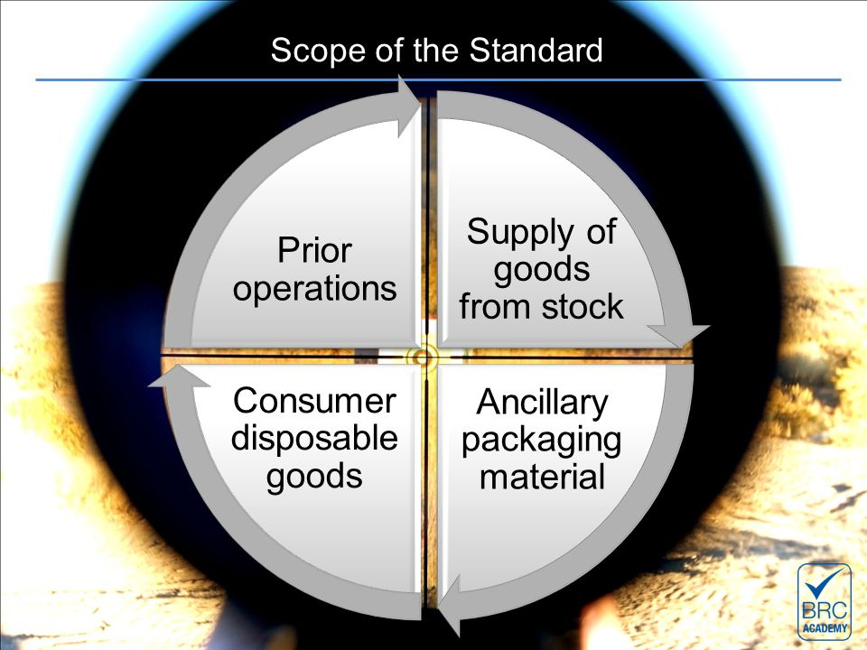 Scope of the Standard Supply of goods from stock Ancillary packaging material Consumer disposable goods Prior operations