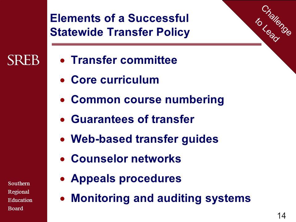 Southern Regional Education Board Challenge to Lead Elements of a Successful Statewide Transfer Policy  Transfer committee  Core curriculum  Common course numbering  Guarantees of transfer  Web-based transfer guides  Counselor networks  Appeals procedures  Monitoring and auditing systems 14