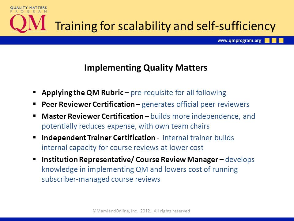 Quality Matters Tm Professional Development And Certifications