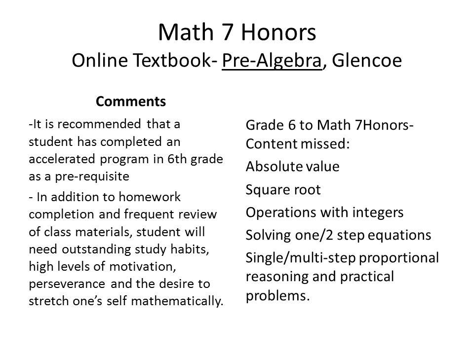Math 7 Description 7th grade level Pre-algebra Students