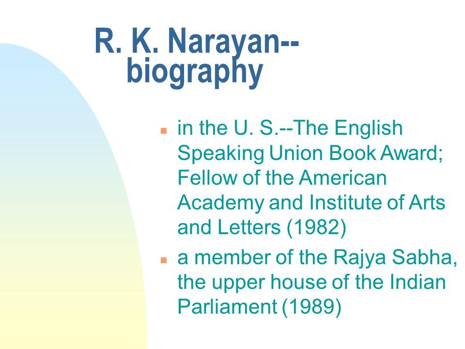 R. K narayan biography ppt.