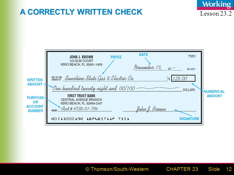 © Thomson/South-WesternSlideCHAPTER 2312 A CORRECTLY WRITTEN CHECK Lesson 23.2