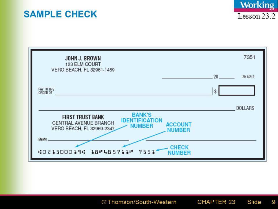 © Thomson/South-WesternSlideCHAPTER 239 SAMPLE CHECK Lesson 23.2