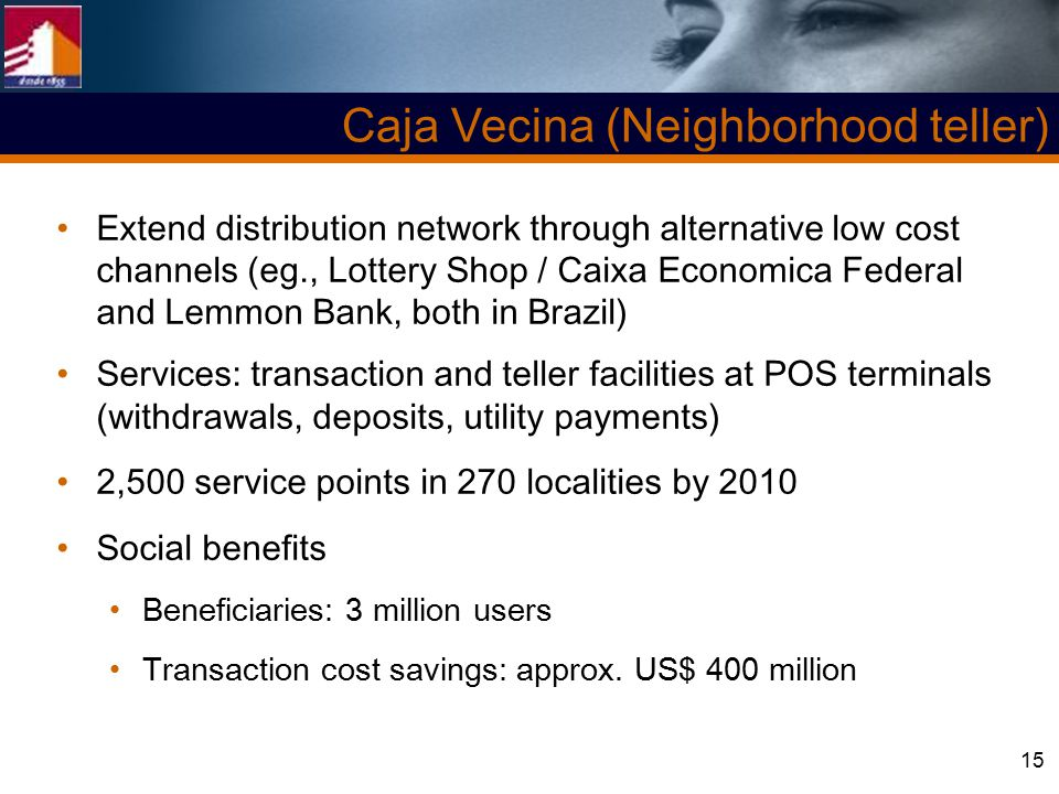 15 Extend distribution network through alternative low cost channels (eg., Lottery Shop / Caixa Economica Federal and Lemmon Bank, both in Brazil) Services: transaction and teller facilities at POS terminals (withdrawals, deposits, utility payments) 2,500 service points in 270 localities by 2010 Social benefits Beneficiaries: 3 million users Transaction cost savings: approx.