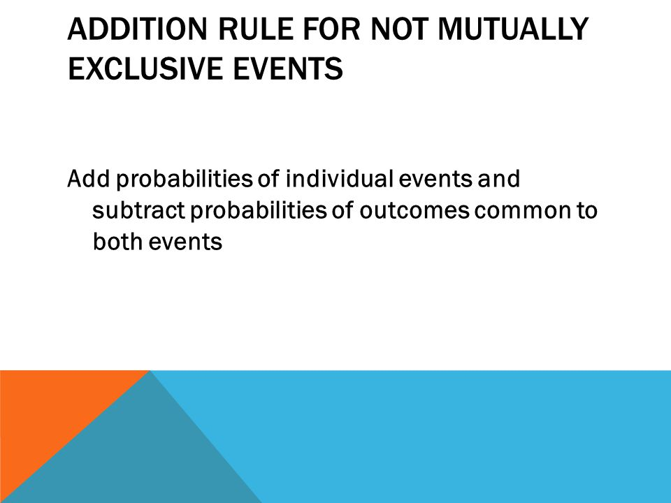 ADDITION RULE FOR NOT MUTUALLY EXCLUSIVE EVENTS Add probabilities of individual events and subtract probabilities of outcomes common to both events