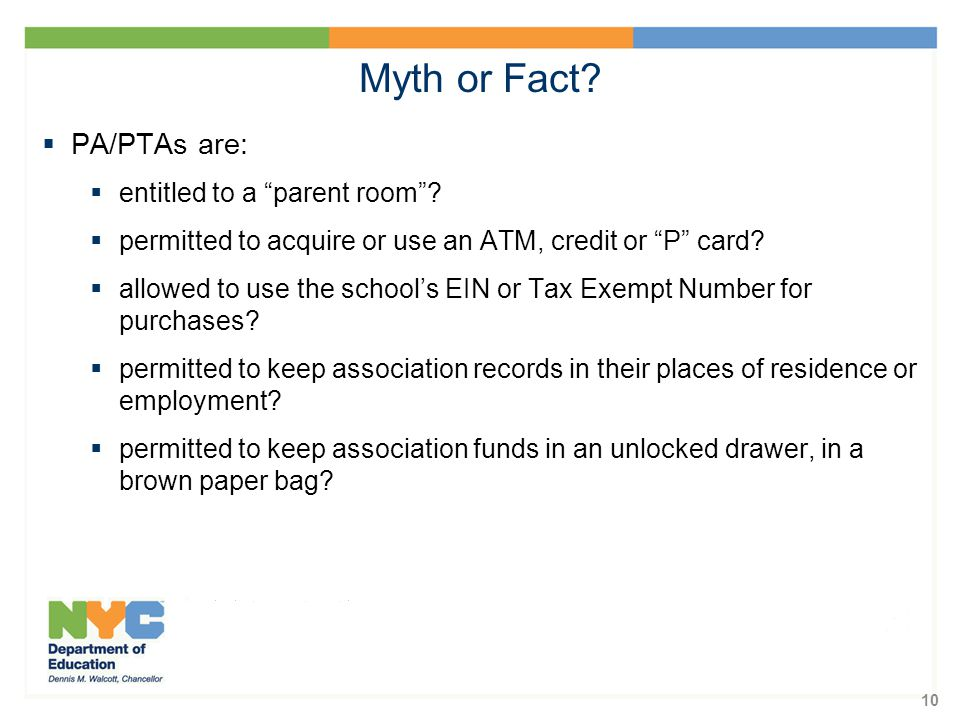 10  PA/PTAs are:  entitled to a parent room .