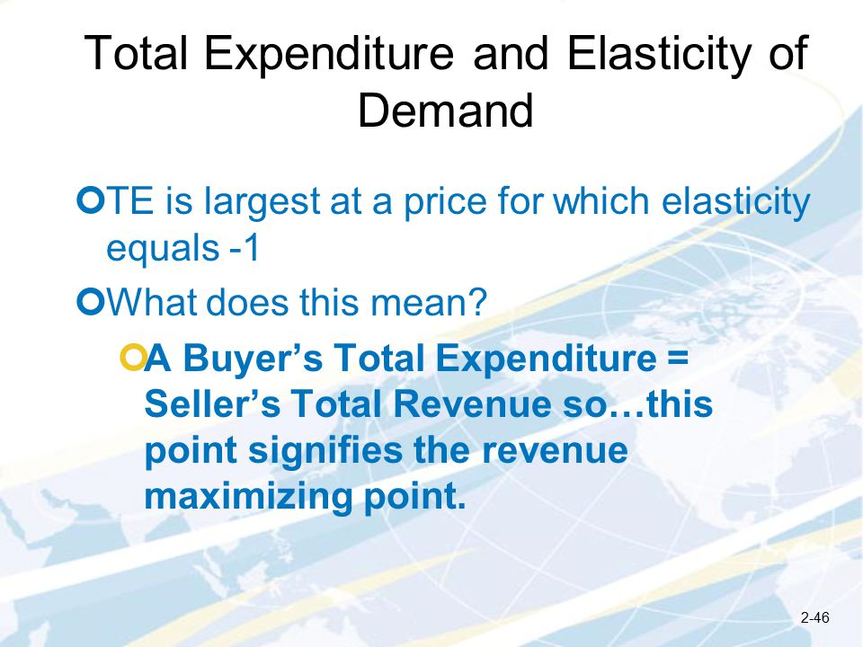 Total Expenditure and Elasticity of Demand TE is largest at a price for which elasticity equals -1 What does this mean.