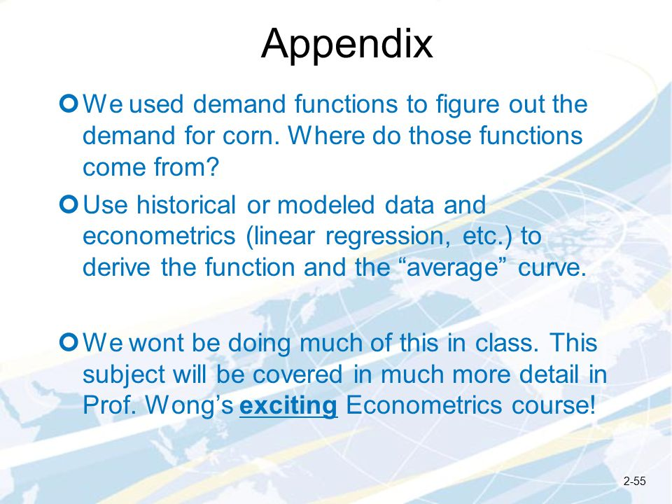 Appendix We used demand functions to figure out the demand for corn.