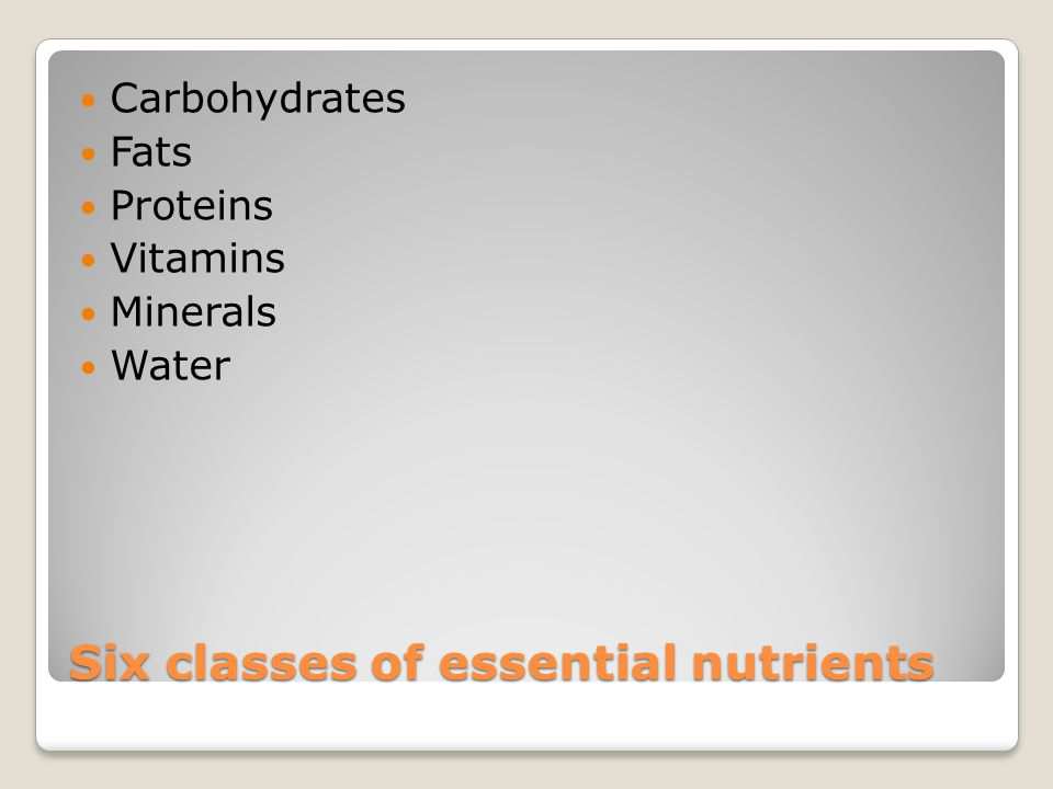 Six classes of essential nutrients Carbohydrates Fats Proteins Vitamins Minerals Water