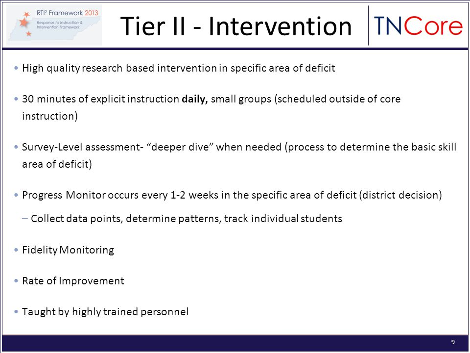 9 High quality research based intervention in specific area of deficit 30 minutes of explicit instruction daily, small groups (scheduled outside of core instruction) Survey-Level assessment- deeper dive when needed (process to determine the basic skill area of deficit) Progress Monitor occurs every 1-2 weeks in the specific area of deficit (district decision) –Collect data points, determine patterns, track individual students Fidelity Monitoring Rate of Improvement Taught by highly trained personnel Tier II - Intervention