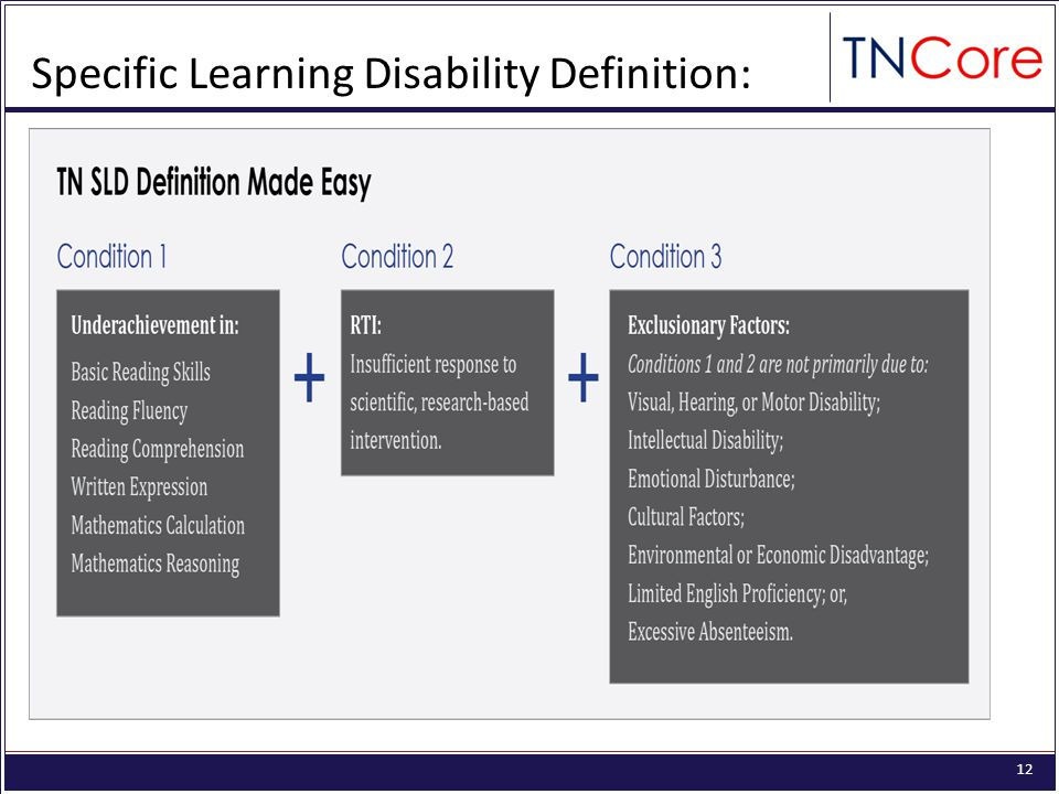 12 Specific Learning Disability Definition: