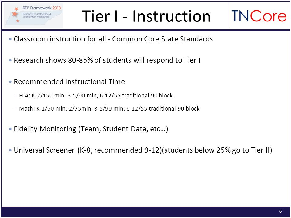 6 Classroom instruction for all - Common Core State Standards Research shows 80-85% of students will respond to Tier I Recommended Instructional Time –ELA: K-2/150 min; 3-5/90 min; 6-12/55 traditional 90 block –Math: K-1/60 min; 2/75min; 3-5/90 min; 6-12/55 traditional 90 block Fidelity Monitoring (Team, Student Data, etc…) Universal Screener (K-8, recommended 9-12)(students below 25% go to Tier II) Tier I - Instruction