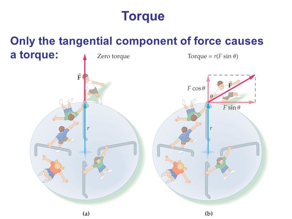 Torque Only the tangential component of force causes a torque: