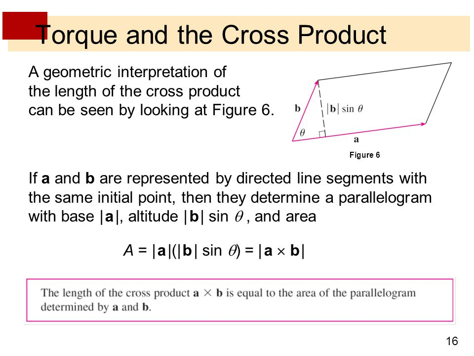 16 Torque and the Cross Product A geometric interpretation of the length of the cross product can be seen by looking at Figure 6.