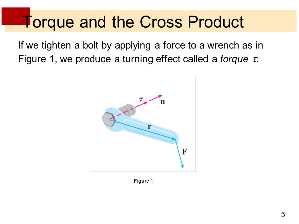 5 If we tighten a bolt by applying a force to a wrench as in Figure 1, we produce a turning effect called a torque .