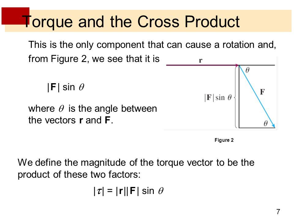 7 Torque and the Cross Product This is the only component that can cause a rotation and, from Figure 2, we see that it is | F | sin  where  is the angle between the vectors r and F.