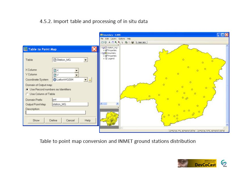 Table to point map conversion and INMET ground stations distribution