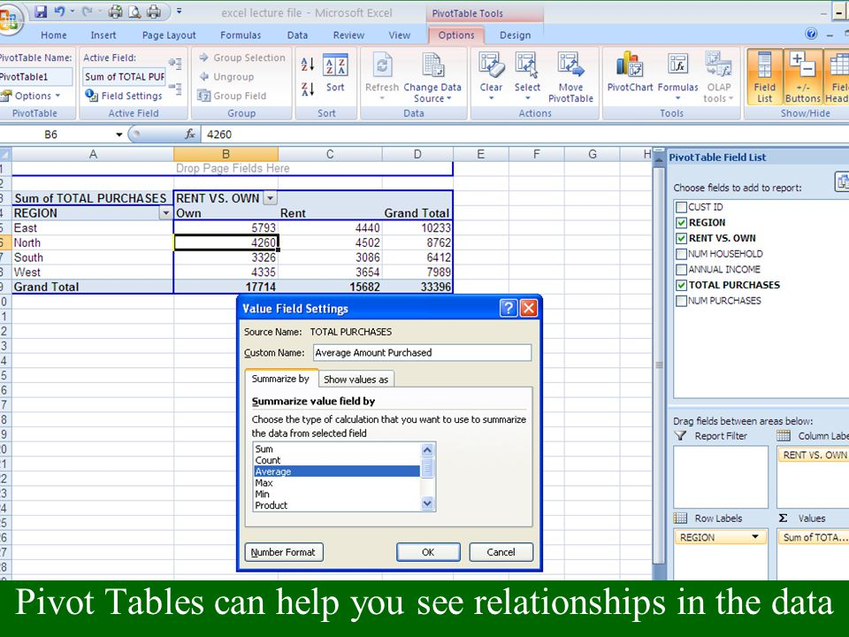 Microsoft Excel Working with Excel Lists, Subtotals and
