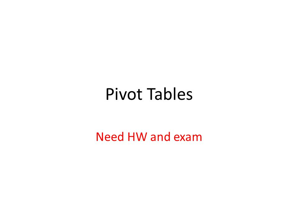 Pivot Tables Need HW and exam  Why? A pivot table gives you