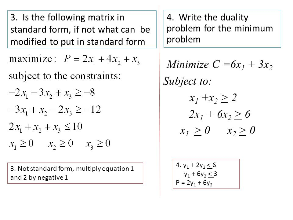 Chapter 4 Standard Form All Variables Are Nonnegative Pivot