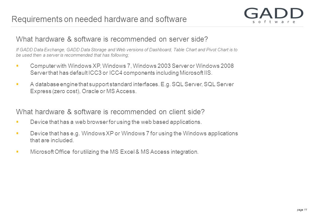 page 11 What hardware & software is recommended on server side.