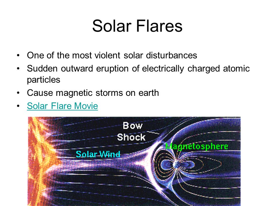 Solar Flares One of the most violent solar disturbances Sudden outward eruption of electrically charged atomic particles Cause magnetic storms on earth Solar Flare Movie