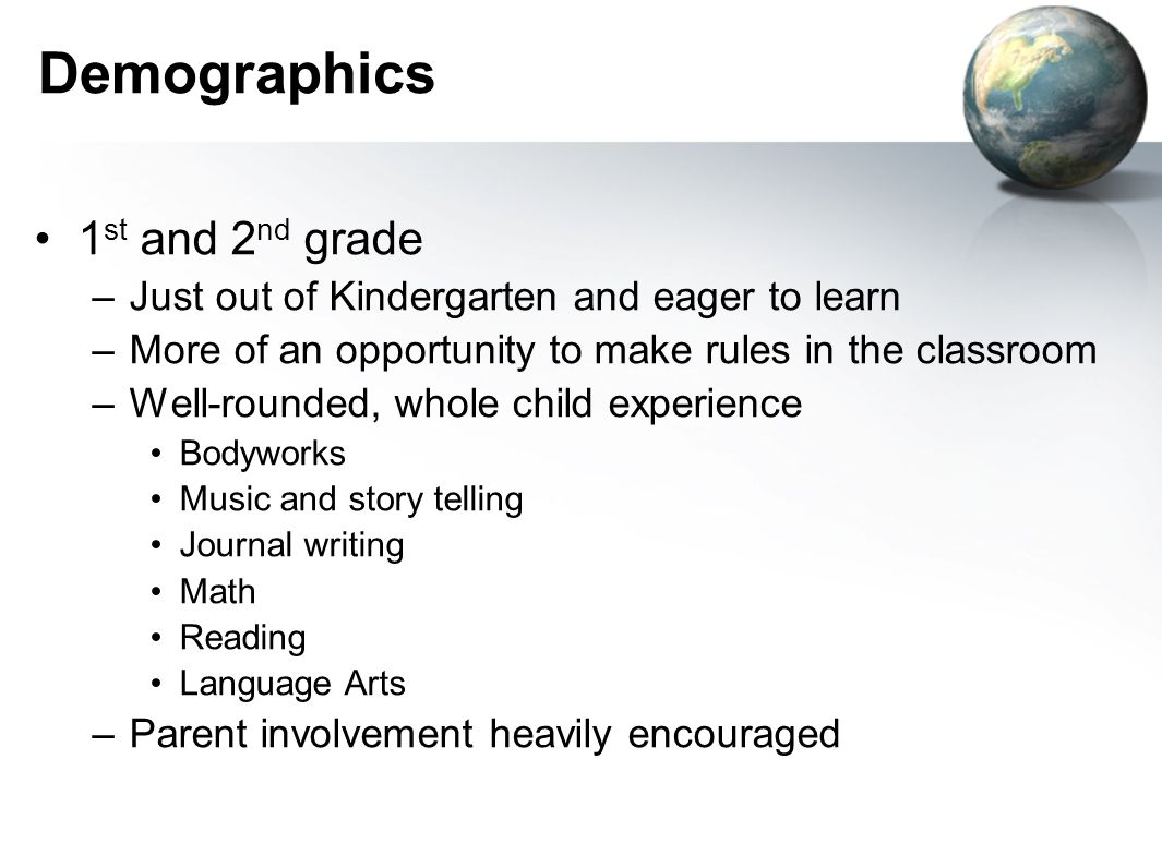 Demographics 1 st and 2 nd grade –Just out of Kindergarten and eager to learn –More of an opportunity to make rules in the classroom –Well-rounded, whole child experience Bodyworks Music and story telling Journal writing Math Reading Language Arts –Parent involvement heavily encouraged