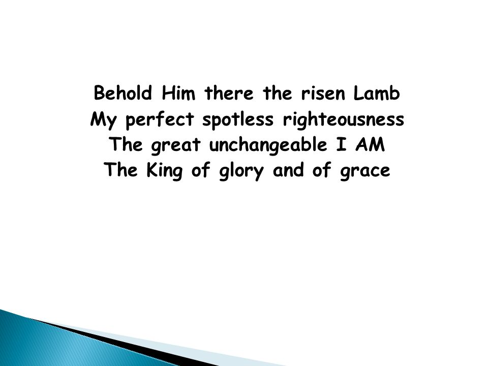 Behold Him there the risen Lamb My perfect spotless righteousness The great unchangeable I AM The King of glory and of grace