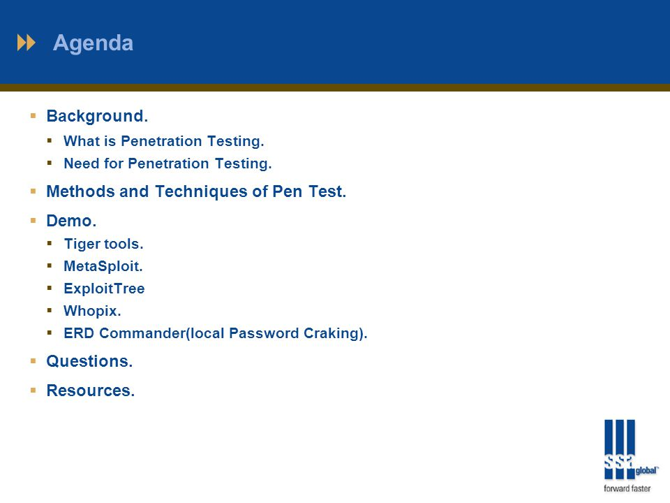 Agenda  Background.  What is Penetration Testing.
