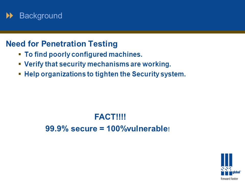 Background Need for Penetration Testing  To find poorly configured machines.