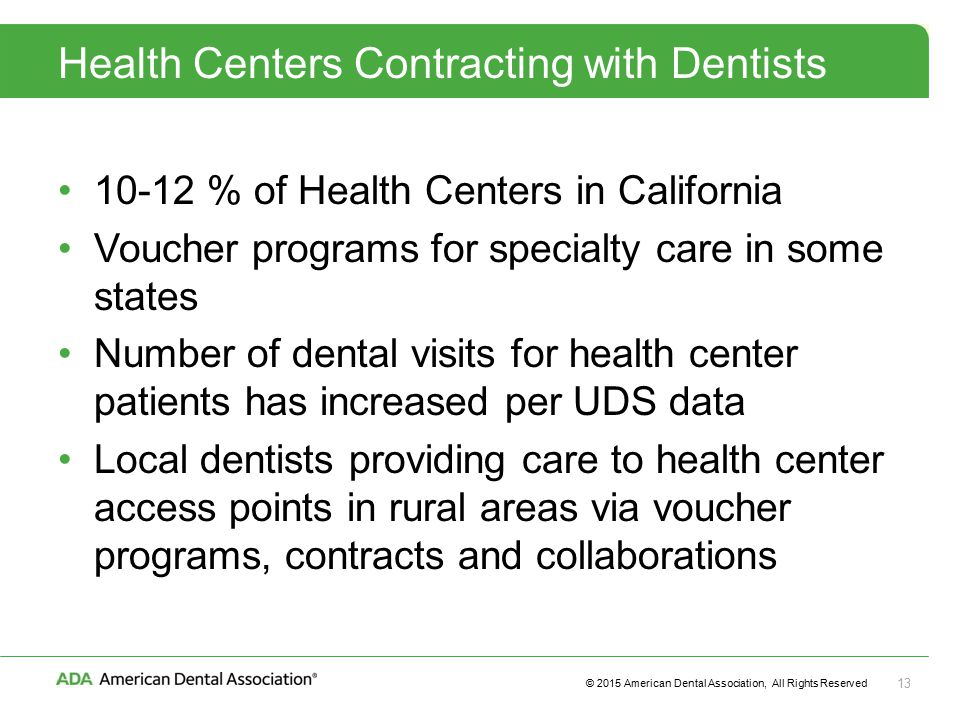© 2015 American Dental Association, All Rights Reserved 13 Health Centers Contracting with Dentists % of Health Centers in California Voucher programs for specialty care in some states Number of dental visits for health center patients has increased per UDS data Local dentists providing care to health center access points in rural areas via voucher programs, contracts and collaborations