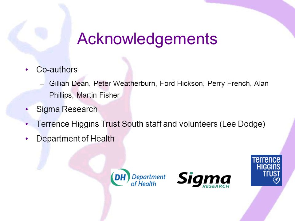 Acknowledgements Co-authors –Gillian Dean, Peter Weatherburn, Ford Hickson, Perry French, Alan Phillips, Martin Fisher Sigma Research Terrence Higgins Trust South staff and volunteers (Lee Dodge) Department of Health
