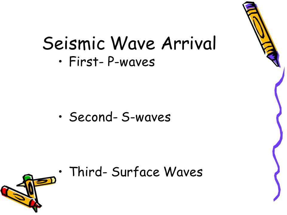 Seismic Wave Arrival First- P-waves Second- S-waves Third- Surface Waves