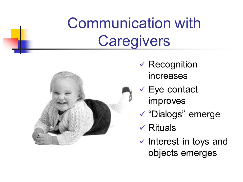 Communication with Caregivers Recognition increases Eye contact improves Dialogs emerge Rituals Interest in toys and objects emerges