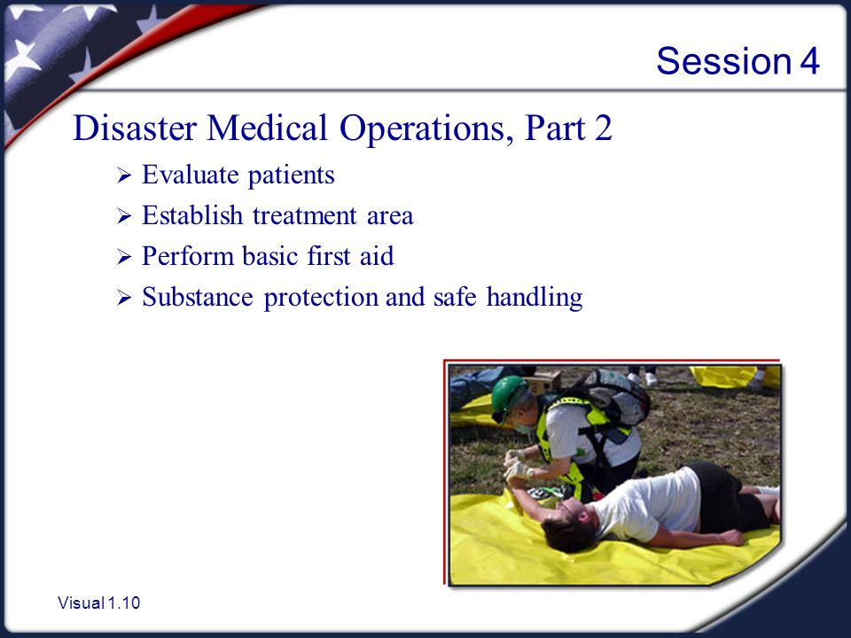 Visual 1.10 Session 4 Disaster Medical Operations, Part 2  Evaluate patients  Establish treatment area  Perform basic first aid  Substance protection and safe handling