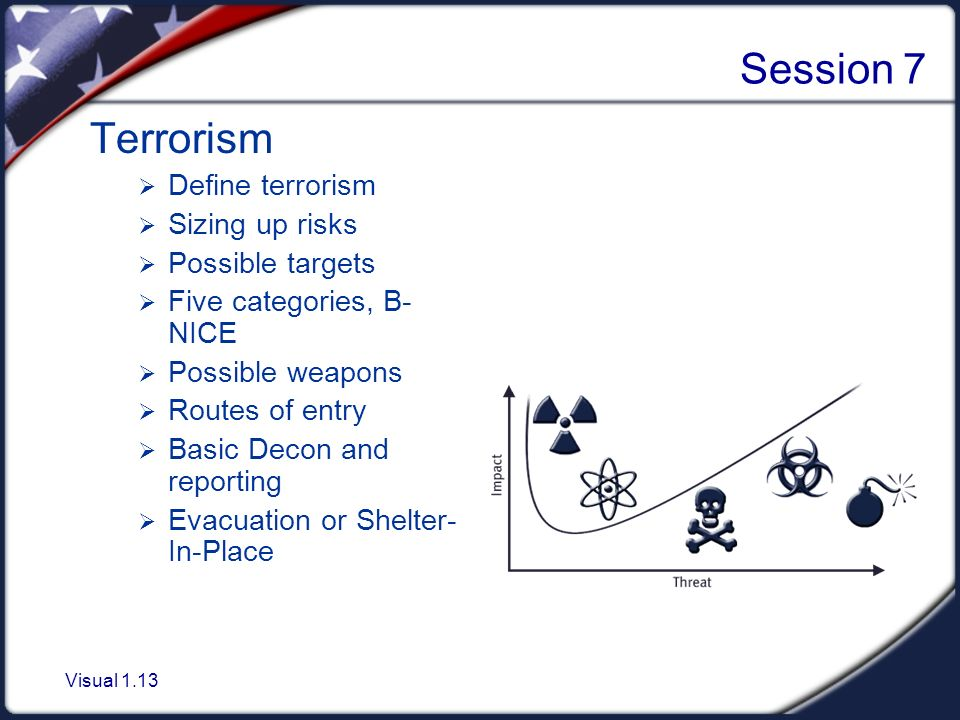 Visual 1.13 Session 7 Terrorism  Define terrorism  Sizing up risks  Possible targets  Five categories, B- NICE  Possible weapons  Routes of entry  Basic Decon and reporting  Evacuation or Shelter- In-Place