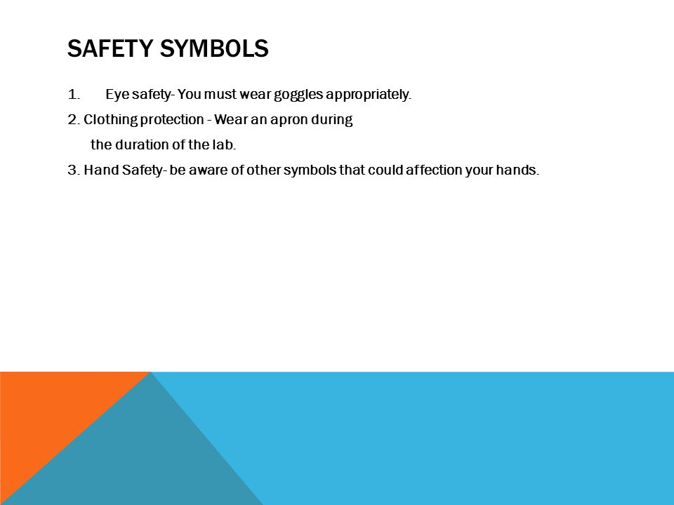 SAFETY SYMBOLS 1.Eye safety- You must wear goggles appropriately.