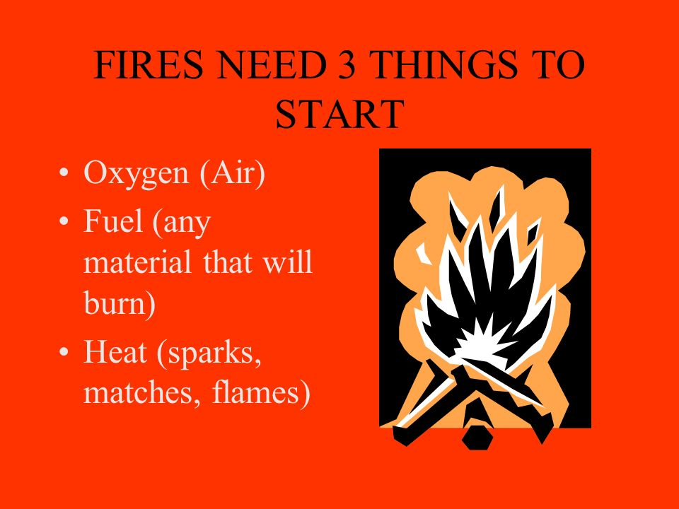 FIRES NEED 3 THINGS TO START Oxygen (Air) Fuel (any material that will burn) Heat (sparks, matches, flames)