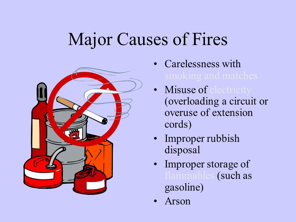 Major Causes of Fires Carelessness with smoking and matches Misuse of electricity (overloading a circuit or overuse of extension cords) Improper rubbish disposal Improper storage of flammables (such as gasoline) Arson