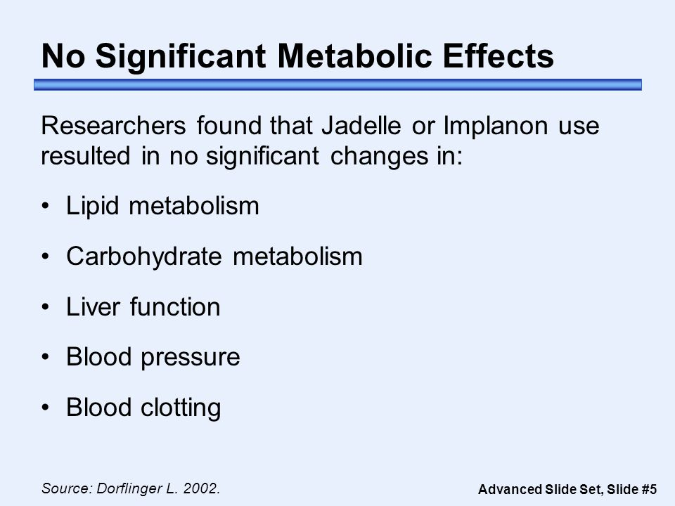 Advanced Slide Set, Slide #5 No Significant Metabolic Effects Source: Dorflinger L.
