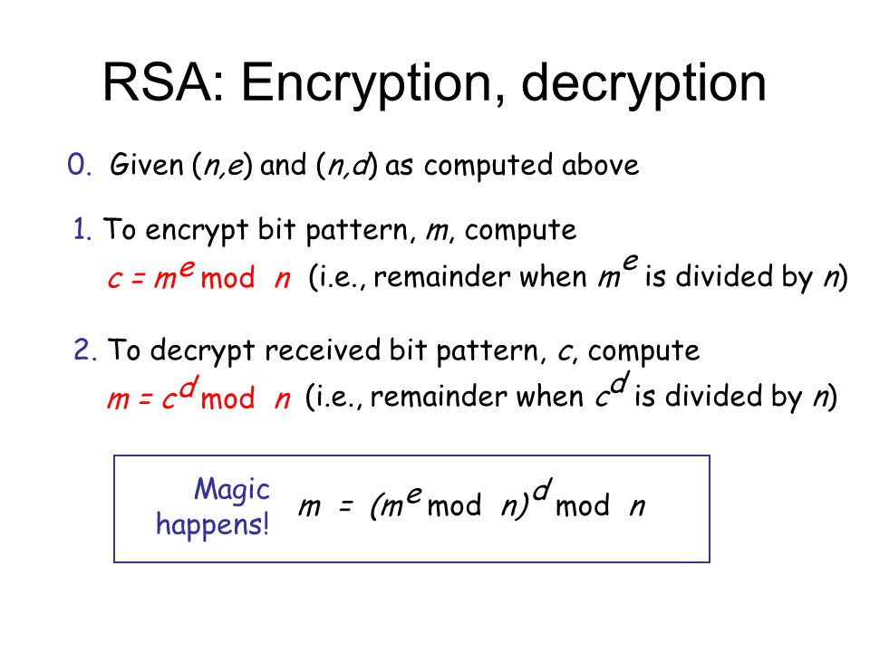 RSA: Encryption, decryption 0. Given (n,e) and (n,d) as computed above 1.