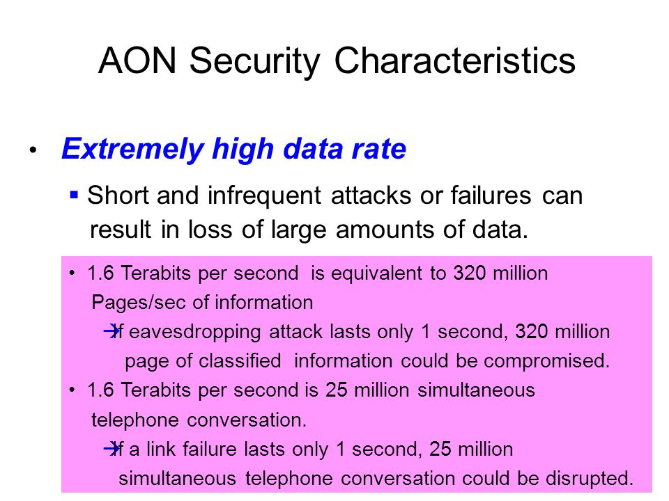 Extremely high data rate AON Security Characteristics 1.6 Terabits per second is equivalent to 320 million Pages/sec of information  If eavesdropping attack lasts only 1 second, 320 million page of classified information could be compromised.